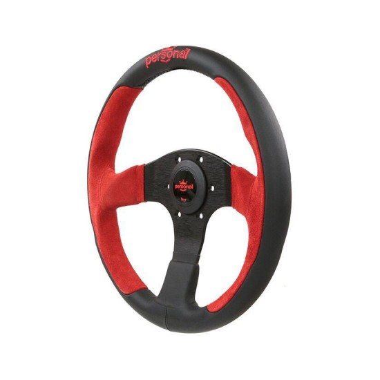 350MM PERSONAL POLE POSITION SUEDE LEATHER STEERING WHEEL